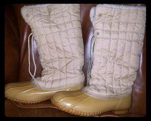 Tan steel shank vintage snow work boots sz 8 duck